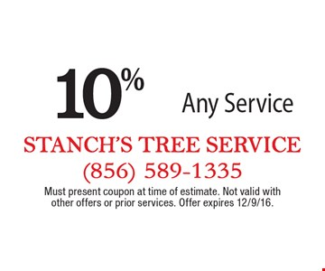 10% off Any Service. Must present coupon at time of estimate. Not valid with other offers or prior services. Offer expires 12/9/16.
