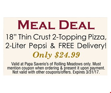 "18"" Thin Crust 2-Topping Pizza,2-Liter Pepsi & FREE Delivery!"