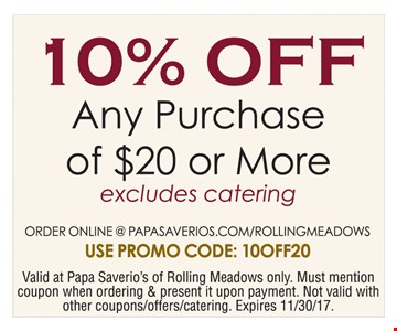 10% off any purchase of $20 or more.