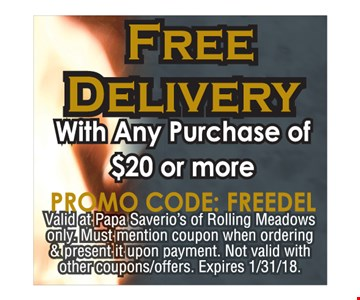 free delivery wth any purchase of $20 or more