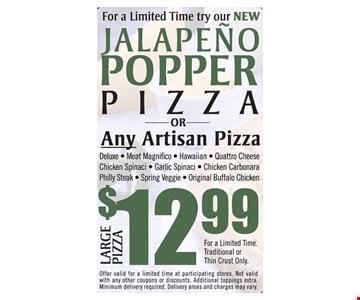 Jalapeno Popper Pizza $12.99