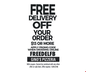 Free Delivery Off Your Order $13 or More