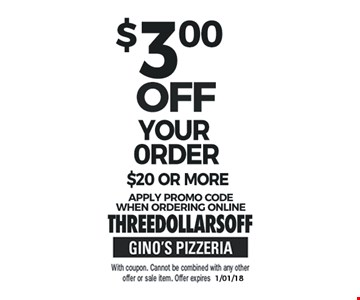 $3 Off Your Order $20 or More