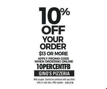 10% Off Your Order $13 or More