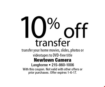 10% off transfer transfer your home movies, slides, photos or video tapes to DVD-free title. With this coupon. Not valid with other offers or prior purchases. Offer expires 1-6-17.