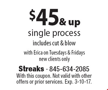 $45 & up single process includes cut & blow with Erica on Tuesdays & Fridays new clients only. With this coupon. Not valid with other offers or prior services. Exp. 3-10-17.
