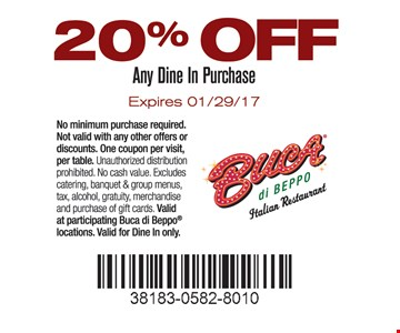 20% OFF Any Dine In Purchase