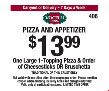 $13.99 pizza and appetizer