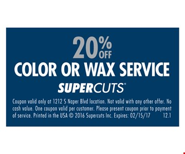 20% off color or wax service.