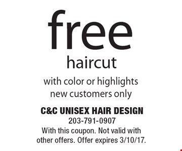 Free haircut. With this coupon. Not valid with other offers. Offer expires 3/10/17.