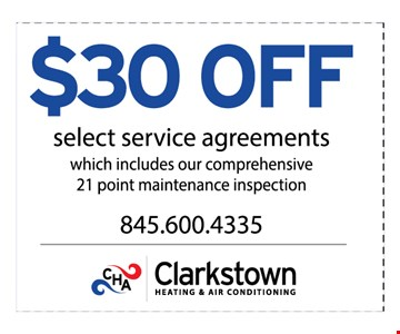 $30 off select service agreements. Which includes our comprehensive 21 point maintenance inspection. Expires 3-10-17.