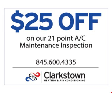 $25 Off Our 21 Point A/C Maintenance Inspection