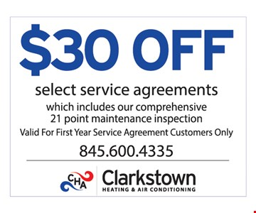$30 Off Select Service Agreement