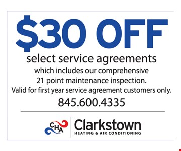 $30 Off Select Service Agreements