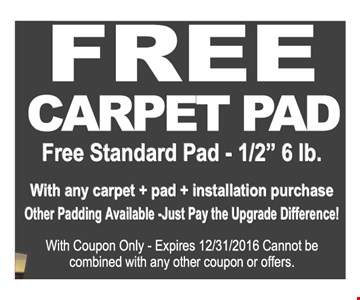 Free carpet pad