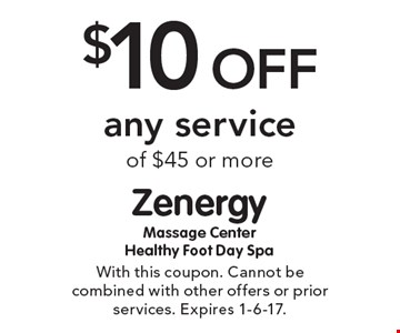 $10 Off any service of $45 or more. With this coupon. Cannot be combined with other offers or prior services. Expires 1-6-17.