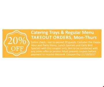 20% OFF Catering Trays & Regular Menu