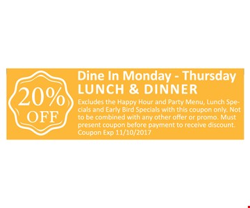 20% OFF Lunch & Dinner