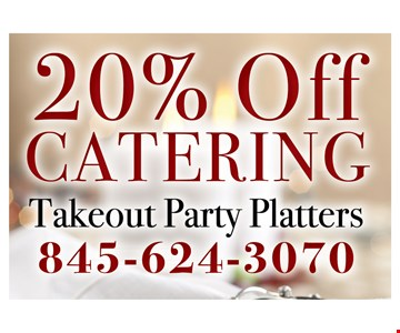 20% Off Catering Takeout Party Platters