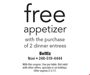 free appetizer with the purchaseof 2 dinner entrees. With this coupon. One per table. Not valid with other offers, specials or on holidays.Offer expires 2-3-17.