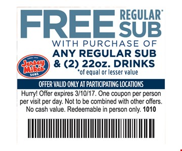 free sub with purchase of any regular sub