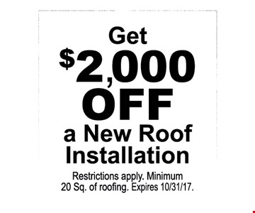 $2000 off a new roof installation