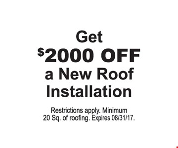 get $2000 off a new roof installation