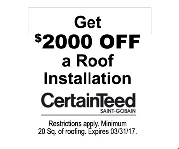 $2000 off a roof installation