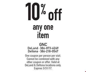10% off any one item. One coupon per person per visit. Cannot be combined with any other coupon or offer. Valid at DeLand & Deltona locations only. Expires 3/31/17.