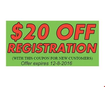 $20 Off Registration