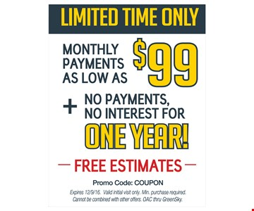 New Windows, Siding or Roof For As Low As $99/mo. FREE ESTIMATES!