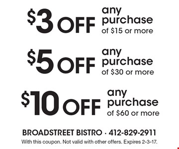 $3 OFF any purchase of $15 or more. $5 OFF any purchase of $30 or more. $10 OFF any purchase of $60 or more. With this coupon. Not valid with other offers. Expires 2-3-17.