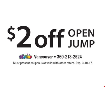 $2 off open jump. Must present coupon. Not valid with other offers. Exp. 3-10-17.