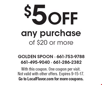 $5 off any purchase of $20 or more. With this coupon. One coupon per visit. Not valid with other offers. Expires 9-15-17. Go to LocalFlavor.com for more coupons.