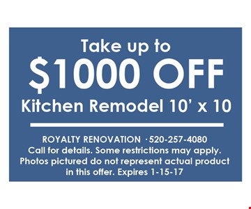 Take up to $1000 off kitchen remodel 10'X 10call fro details . some restrictions may apply . photos pictured do not represent actual product in this offer.
