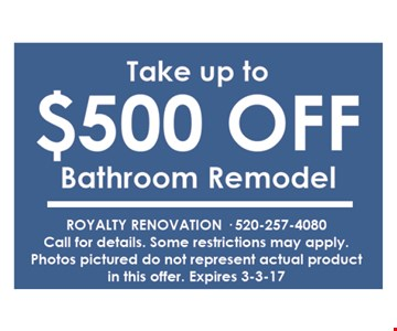 Take up to $500 off bathroom remodel