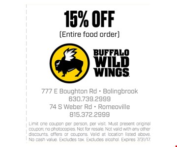 15% off entire food order