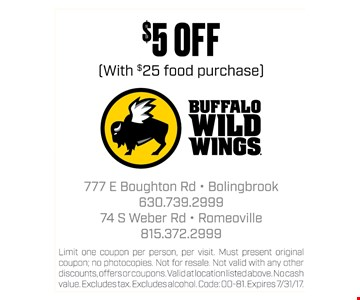 $5 off your food purchase
