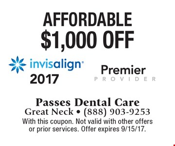 $1,000 off invisalign. With this coupon. Not valid with other offers or prior services. Offer expires 9/15/17.