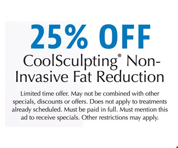 25% off CoolSculpting Non-Invasive Fat Reduction