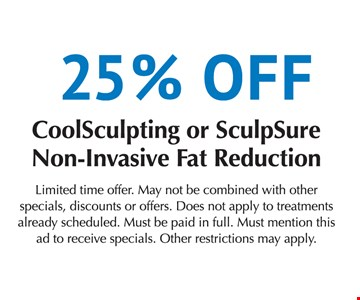 25% off coolsculpting or sculpsure