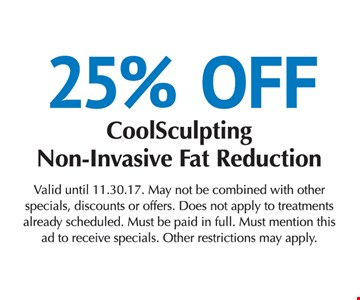 25% off cool sculpting non-invasive fat reduction
