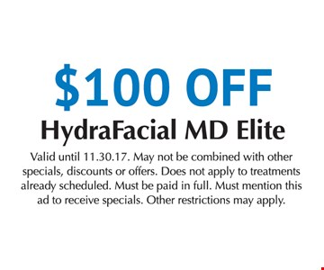 $100 off HydraFacial MD Elite