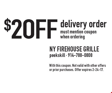 $2 off delivery order must mention coupon when ordering. With this coupon. Not valid with other offers or prior purchases. Offer expires 2-24-17.