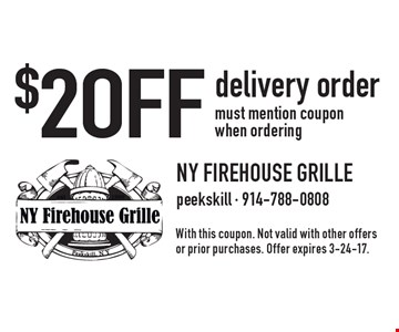 $2 OFF delivery order. must mention coupon when ordering. With this coupon. Not valid with other offers or prior purchases. Offer expires 3-24-17.