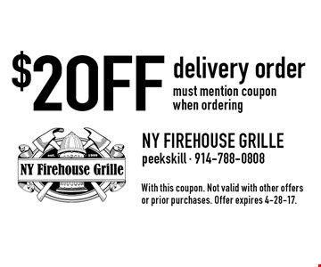 $2 OFF delivery order must mention coupon when ordering. With this coupon. Not valid with other offers or prior purchases. Offer expires 4-28-17.