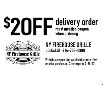$2 OFF delivery order must mention coupon when ordering. With this coupon. Not valid with other offers or prior purchases. Offer expires 7-28-17.