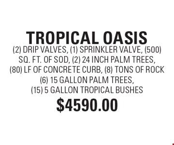 TROPICAL OASIS $4590 (2) DRIP VALVES, (1) SPRINKLER VALVE, (500) SQ. FT. OF SOD, (2) 24 INCH PALM TREES, (80) LF OF CONCRETE CURB, (8) TONS OF ROCK(6) 15 GALLON PALM TREES, (15) 5 GALLON TROPICAL BUSHES.