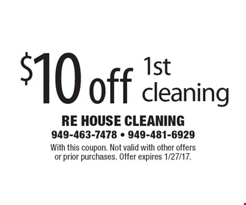 $10 off 1st cleaning. With this coupon. Not valid with other offersor prior purchases. Offer expires 1/27/17.