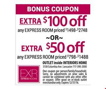 Extra $100 or $50 Off